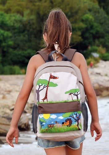 5968b75f58521 Plecak tornister dla dzieci Hugger, Let's Go! - Large, wiek 6-9 lat, wzór  Safari